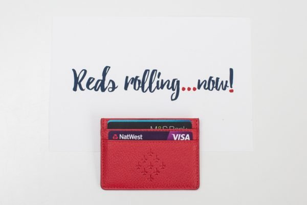 Red Arrows Cardholder with cards inside and quote 'Reds rolling Now'