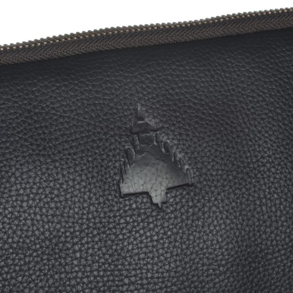Typhoon aircraft de-bossed onto leather asali laptop bag