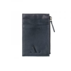 Dark Blue Italian Leather ASALI Cardholder with zip