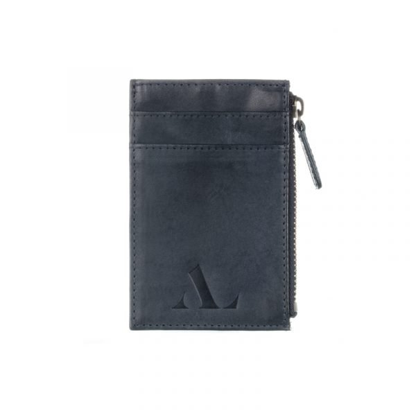 Dark Blue Italian Leather ASALI Cardholder with zip