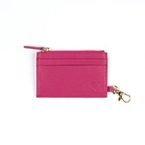 love asali pink leather cardholder with swivel hook and card slots