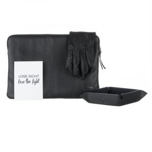 Typhoon Laptop Bag draped with leather flying gloves and Men's Tray and card