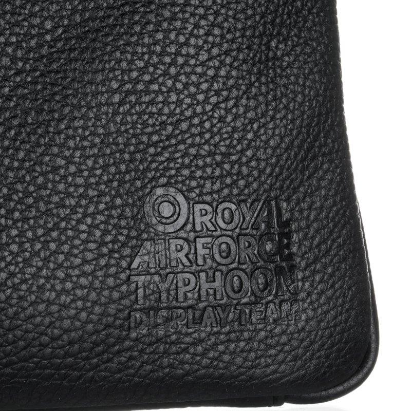 Typhoon Display Logo de-bossed on leather laptop sleeve