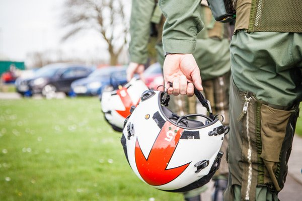 red arrows red 5 helmet arrow pointing down
