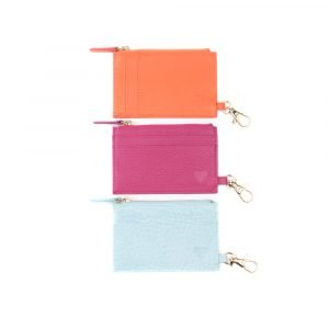 orange blue and pink cardholder asali trio