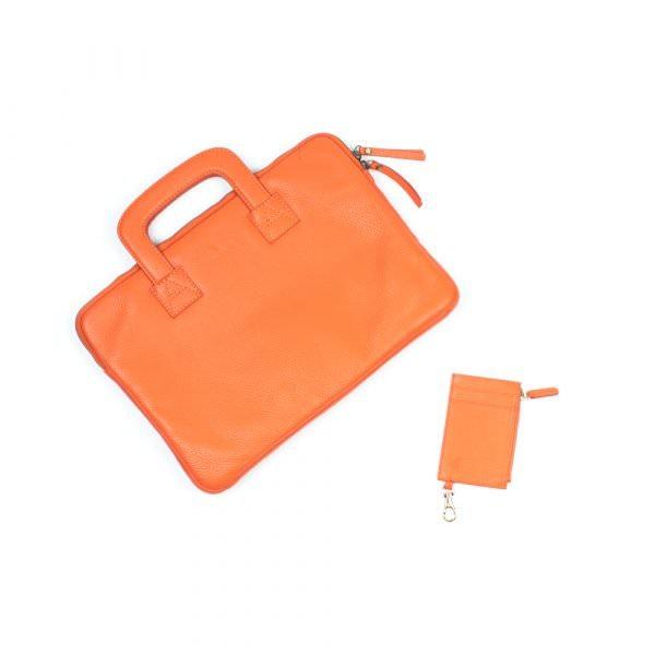 orange leather laptop and cardholder set