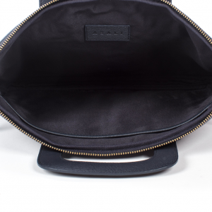 inside of navy blue laptop bag