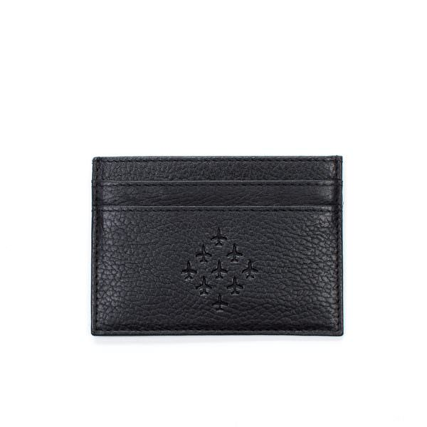RAF Gifts black embossed leather cardholder with diamond 9 logo