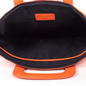 inside of orange laptop bag