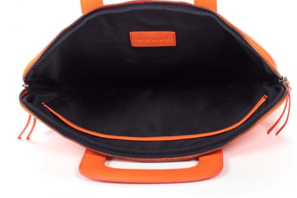 inside of orange laptop bag