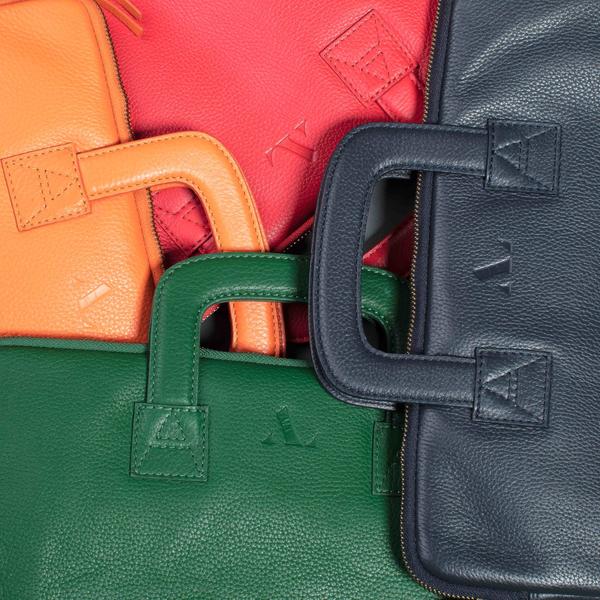 leather laptop bagsorange, navy, green, orange