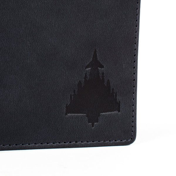 silhouette of typhoon jet on leather wallet gift for men
