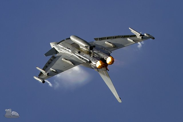 Eurofighter typhoon jet flying