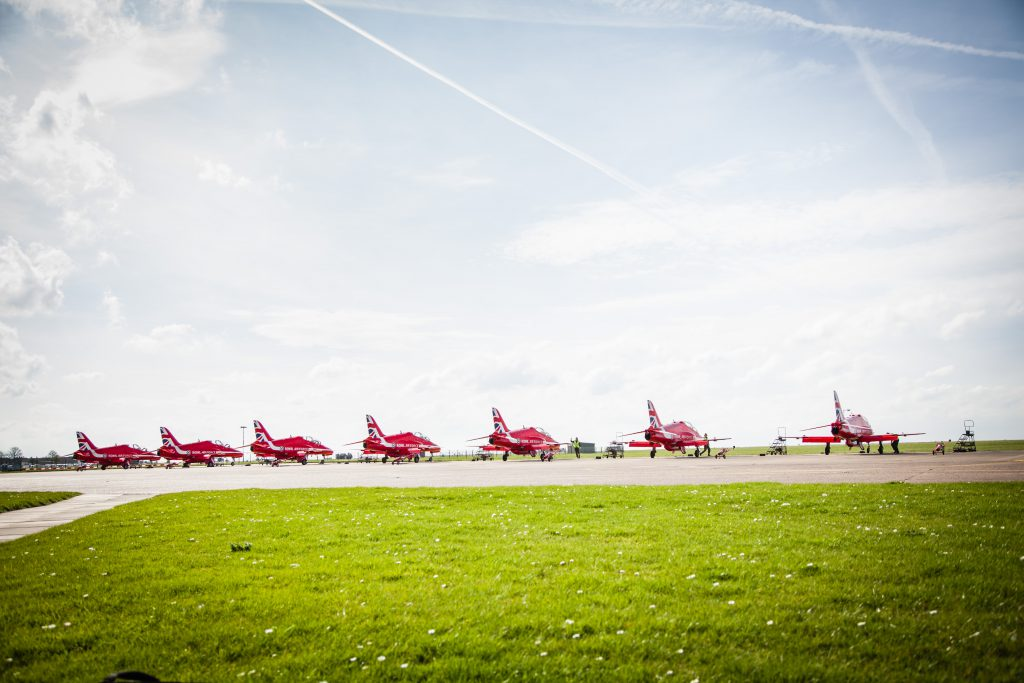 Red Arrows jets lined up at scampton