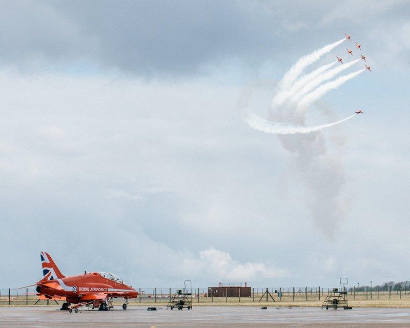 red arrows hawks in the sky winter training