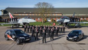 All members of the 2018 Typhoon Display Team and individual groups. Flt Lt Jim Peterson