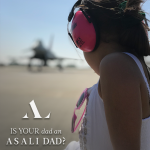 fathers day aviation gift girl with ear defenders and typhoon jet