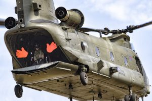 redhands in raf chinook display team flight