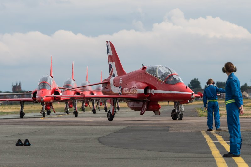 red arrows hawk jets lining up on the runway michelle middleton