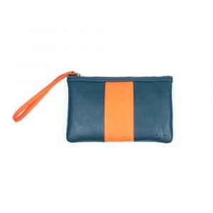 travel pouch petrol blue and orange