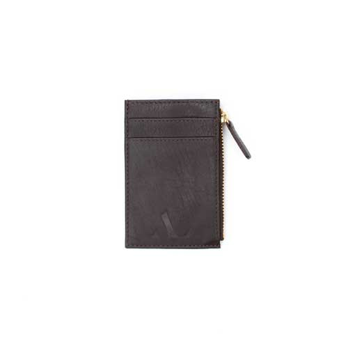 brown nappa leather zipped cardholder