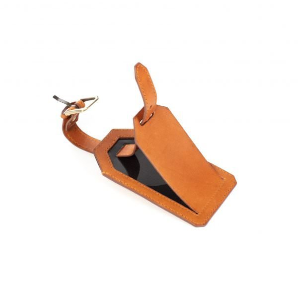 italian leather luggage tag tan