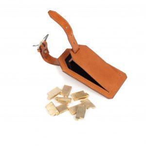 italian tan leather luggage tag with brass lettering for personalisation