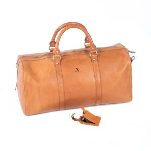 large asali weekend bag tan with free luggage tag