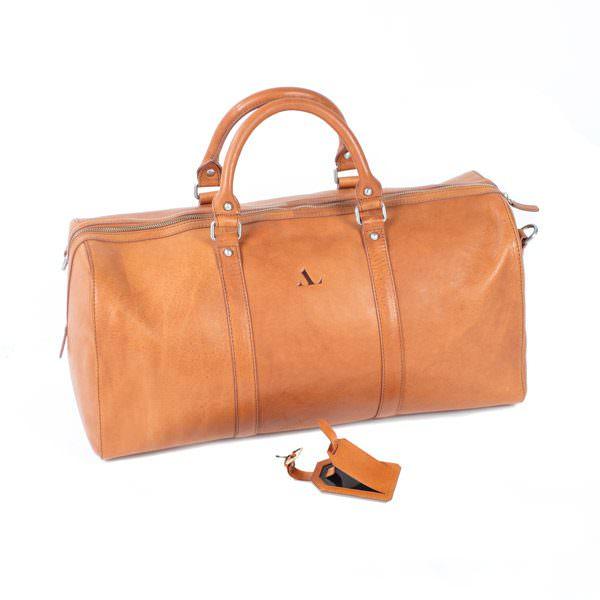 large asali weekend bag tan with free luggage tag