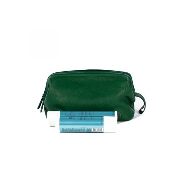 gorgeous green leather wash bag with full size shampoo