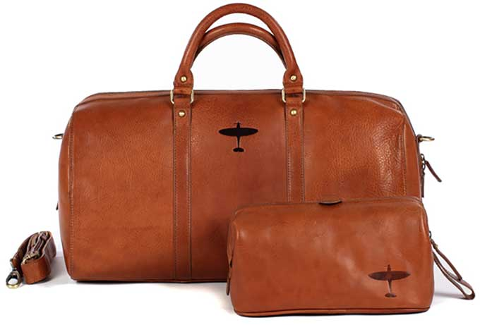 spitfire weekender and wash bag leather aviation asali designs