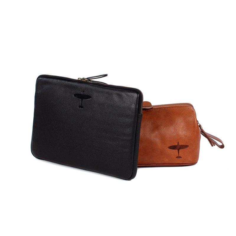 spitfire laptop sleeve and spitfire wash bag asali leather gifts