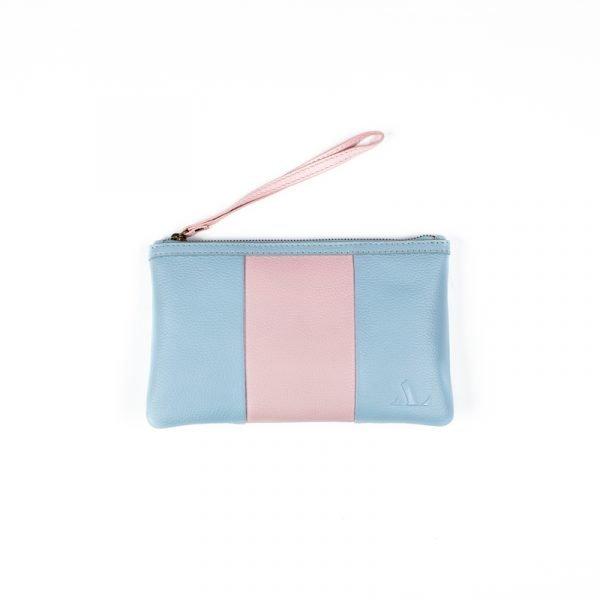 asali travel and stripe baby blue and pink purse