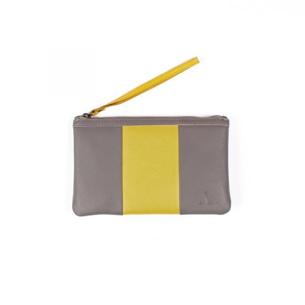 grey and yellow travel and strip purse from asali