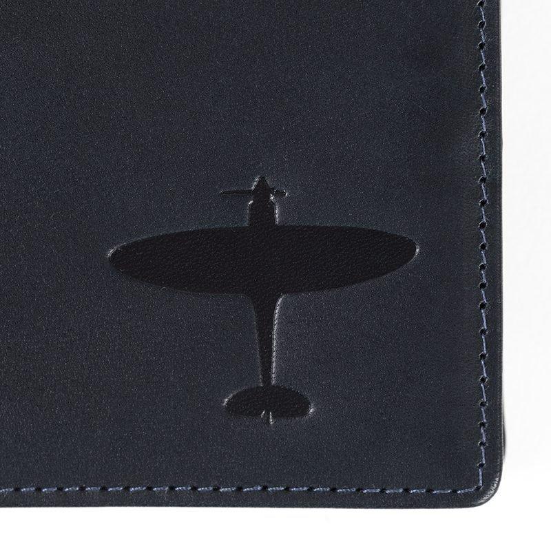 spitfire deboss on leather wallet asali