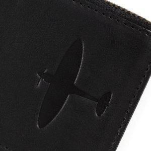 supermarine spitfire close up deboss on spitfire cardholder leather gift