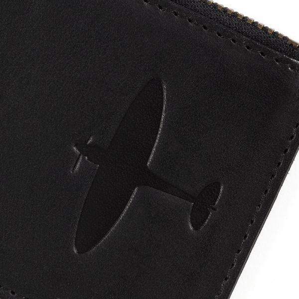 supermarine spitfire close up deboss on spitfire cardholder leather gift