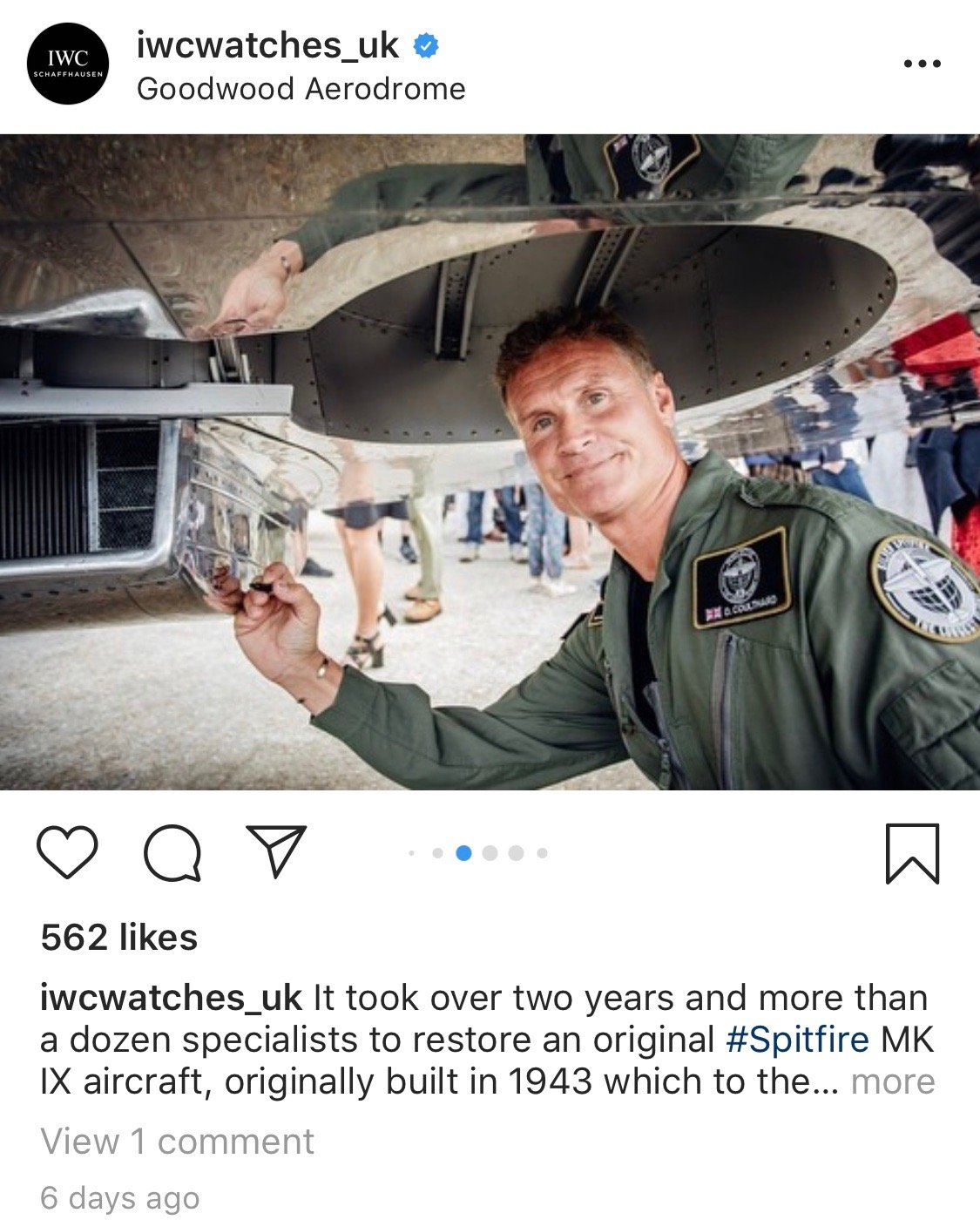 David Coulthard joins IWC and Rosamund Pike at as the silver spitfire takes flight
