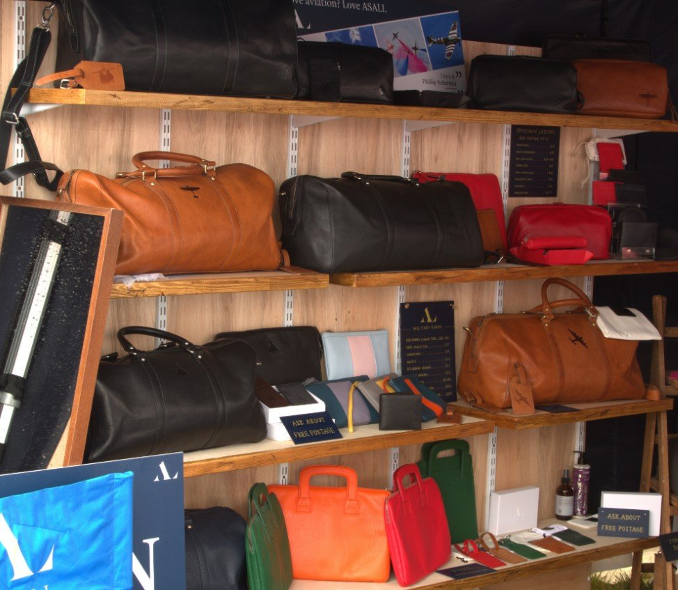 luxury aviation leather gifts on display at riat shopping