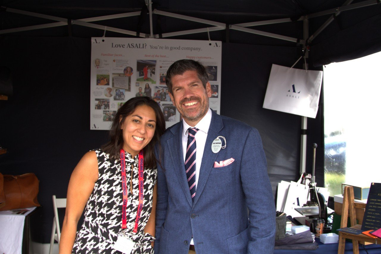 jamie hunter aviation journalist with mindy arora at asali designs