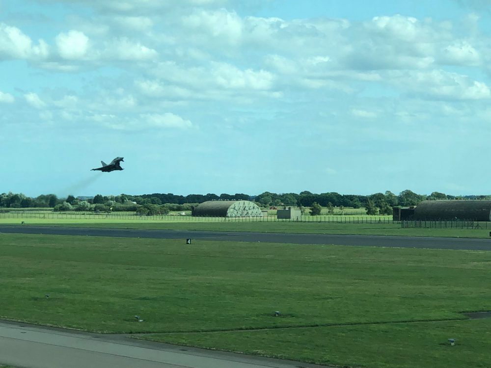 typhoon takes off to meet silver spitfire over coningsby