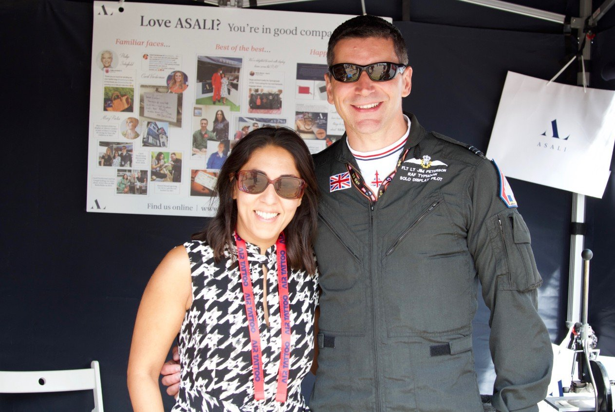typhoon display pilot jim peterson with mindy arora at riat asali designs