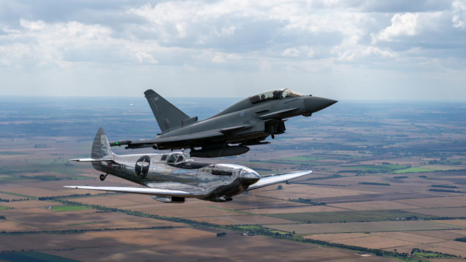 silver spitfire with eurofighter typhoon raf coningsby