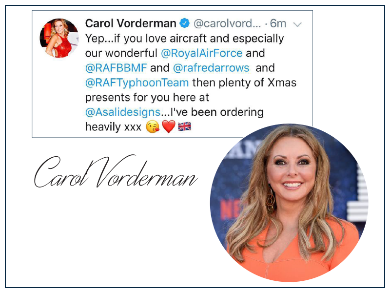 Carol vorderman air cadet groip captain loves asali designs