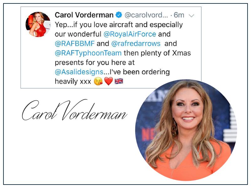 Carol vorderman air cadet groip captain loves asali designs