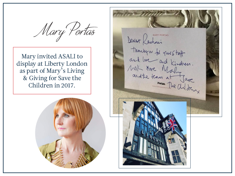 Mary portas invites asali to display in Liberty of London