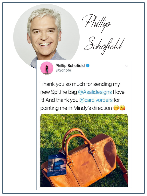 Phillip schofield reviews asali spitfire weekend bag, this morning hosts loves the spitfire