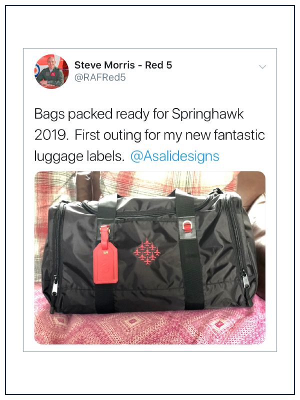 raf red arrows 5 steve morris tweets about asali luggage tags used by the red arrows