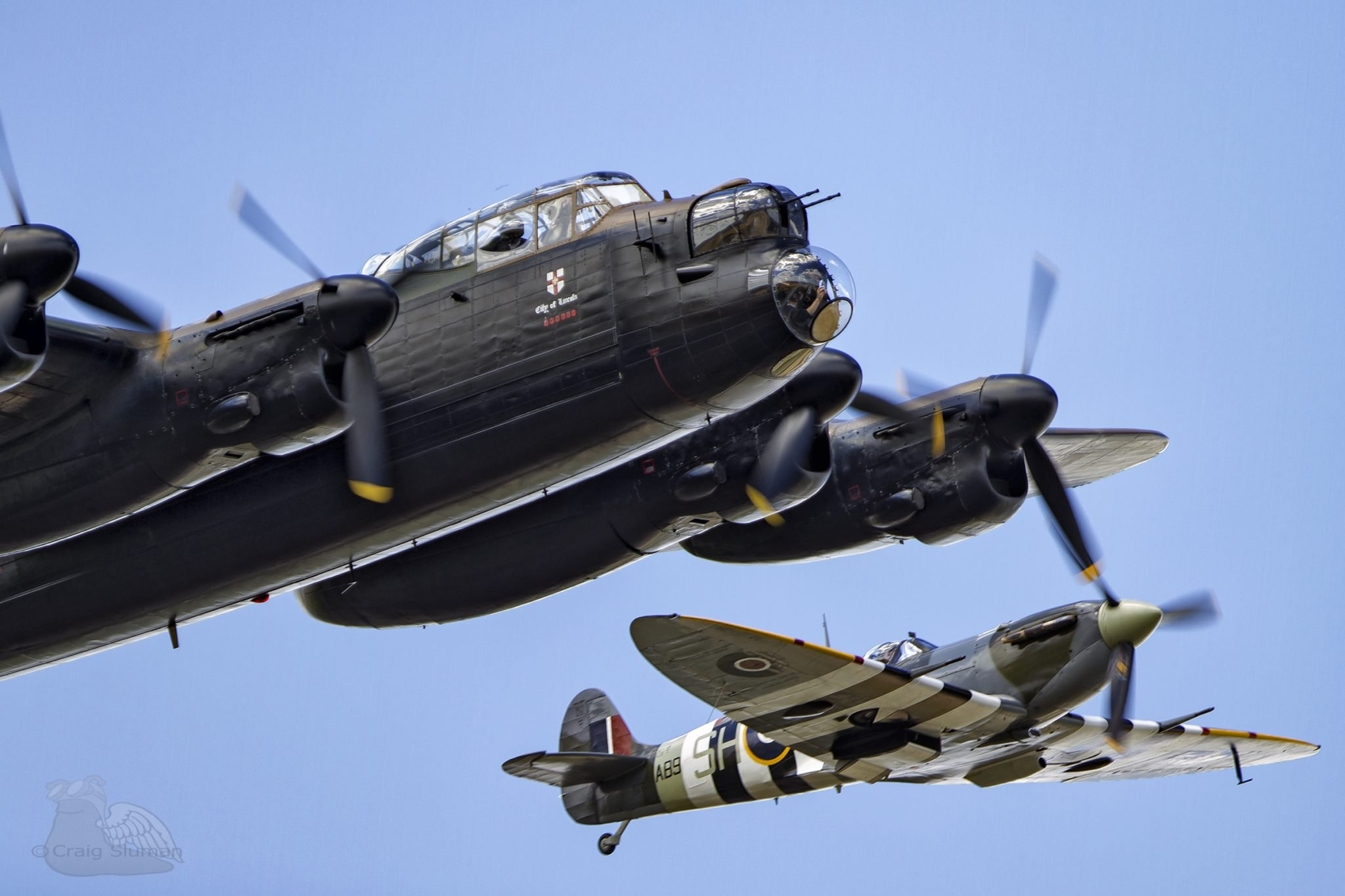 battle of britain memorial flight lancaster and spitfire craig sluman