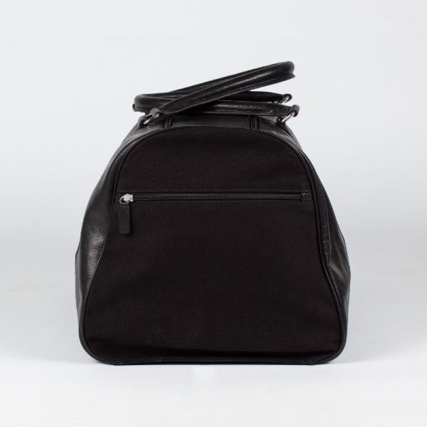 external pockets on black travel bag large leather canvas